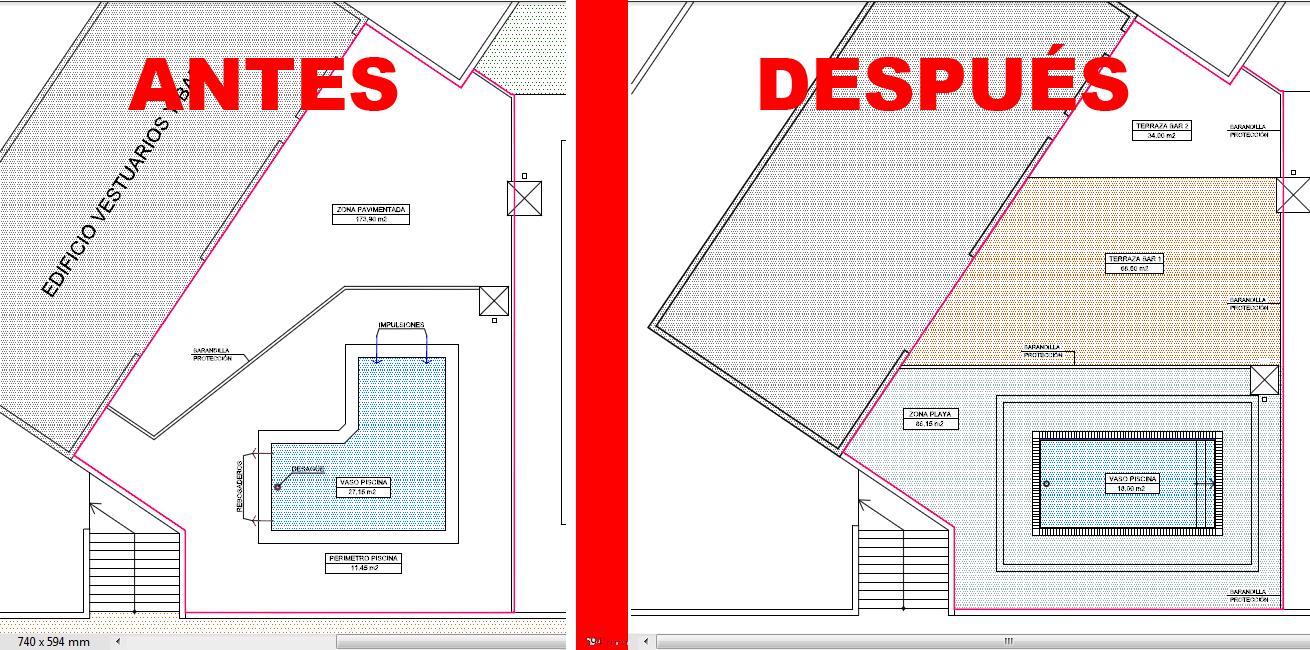 Zona urbana la fresneda for Dimensiones de albercas